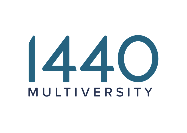 1440 Multiversity logo is the number 1440 with the word multiversity below it